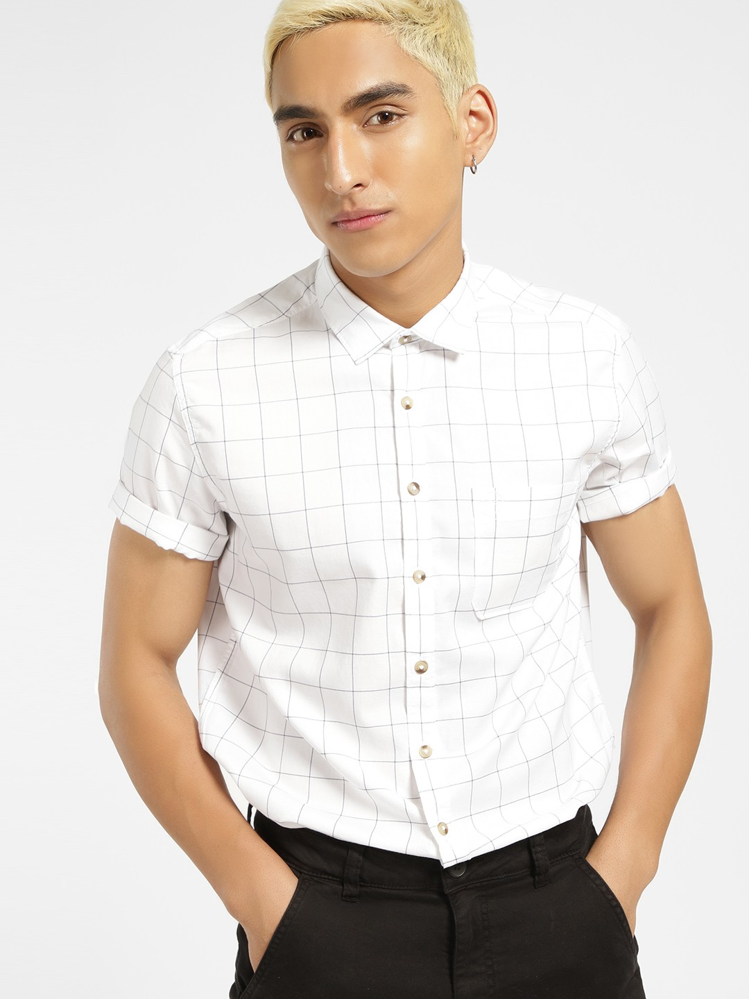 SCULLERS White Short Sleeve Windowpane Check Shirt 1
