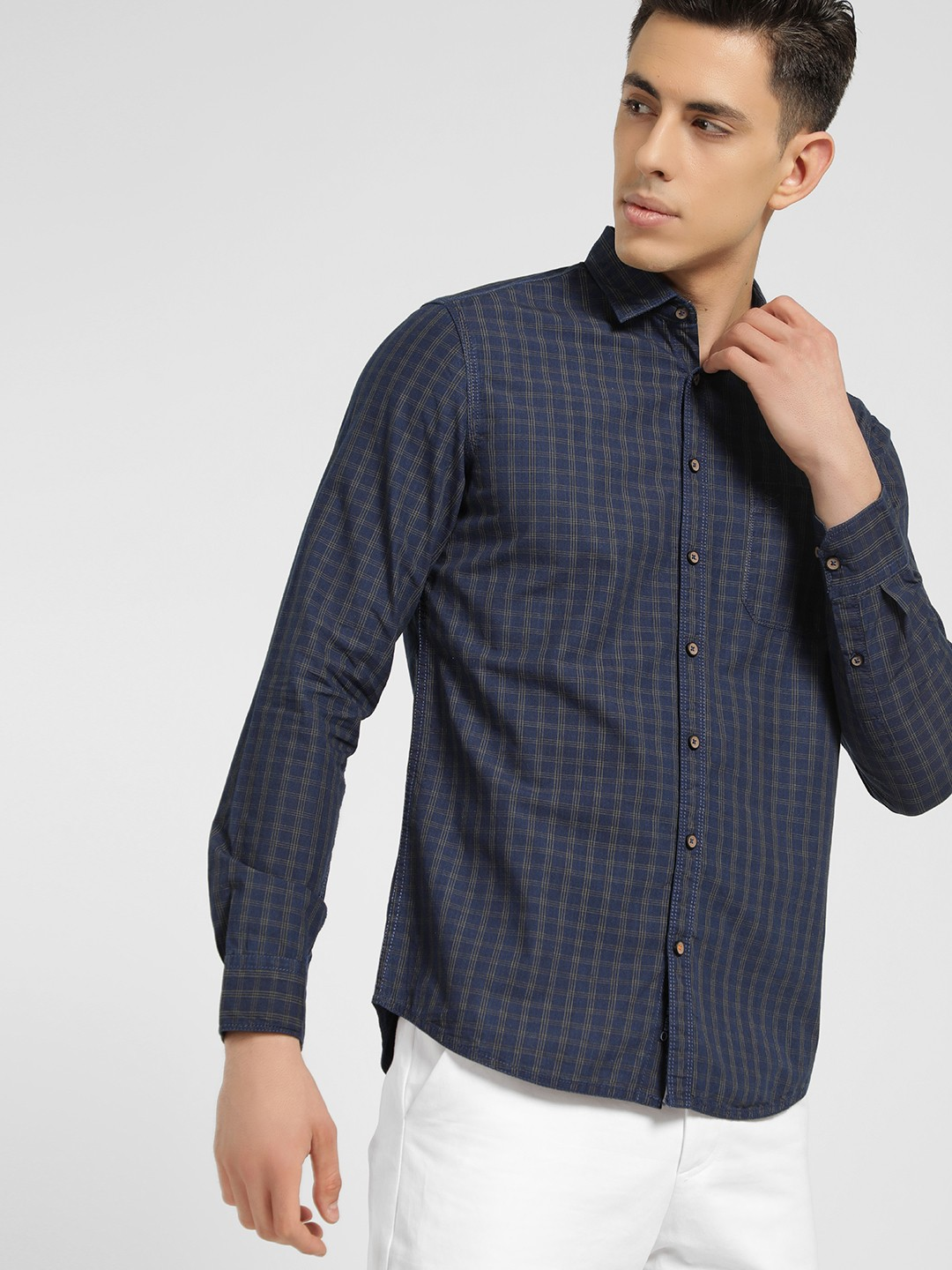 SCULLERS Blue Grid Check Slim Shirt 1