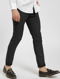 SCULLERS Micro-Check Print Slim Trousers