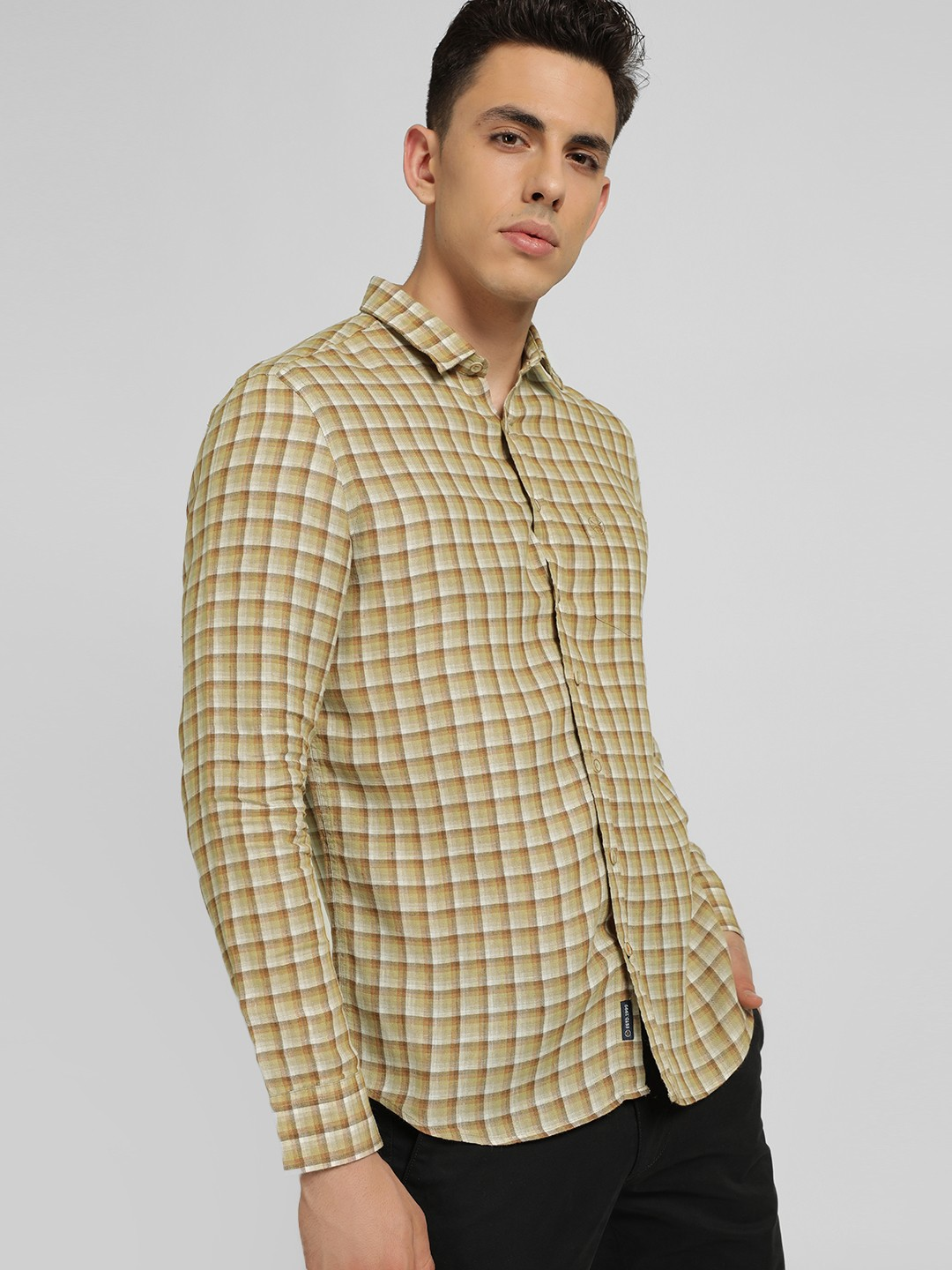 SCULLERS Brown Multi-Check Slim Shirt 1