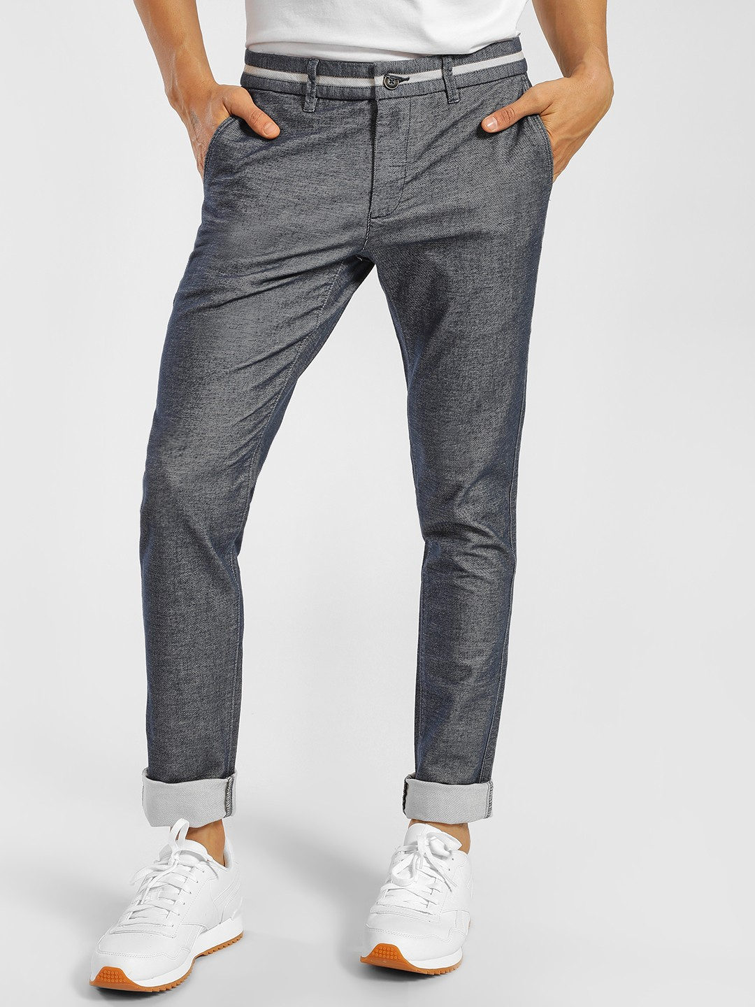 SCULLERS Blue Textured Slim Fit Trousers 1