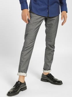 SCULLERS Textured Denim Slim Fit Trousers