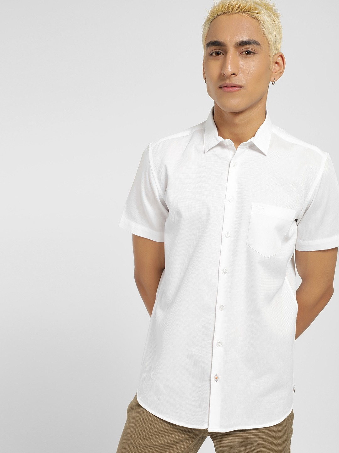 SCULLERS White Dobby Slim Fit Shirt 1