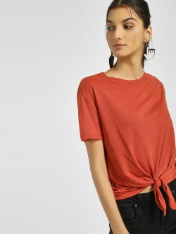 New Look Tie-Knot Cropped T-Shirt