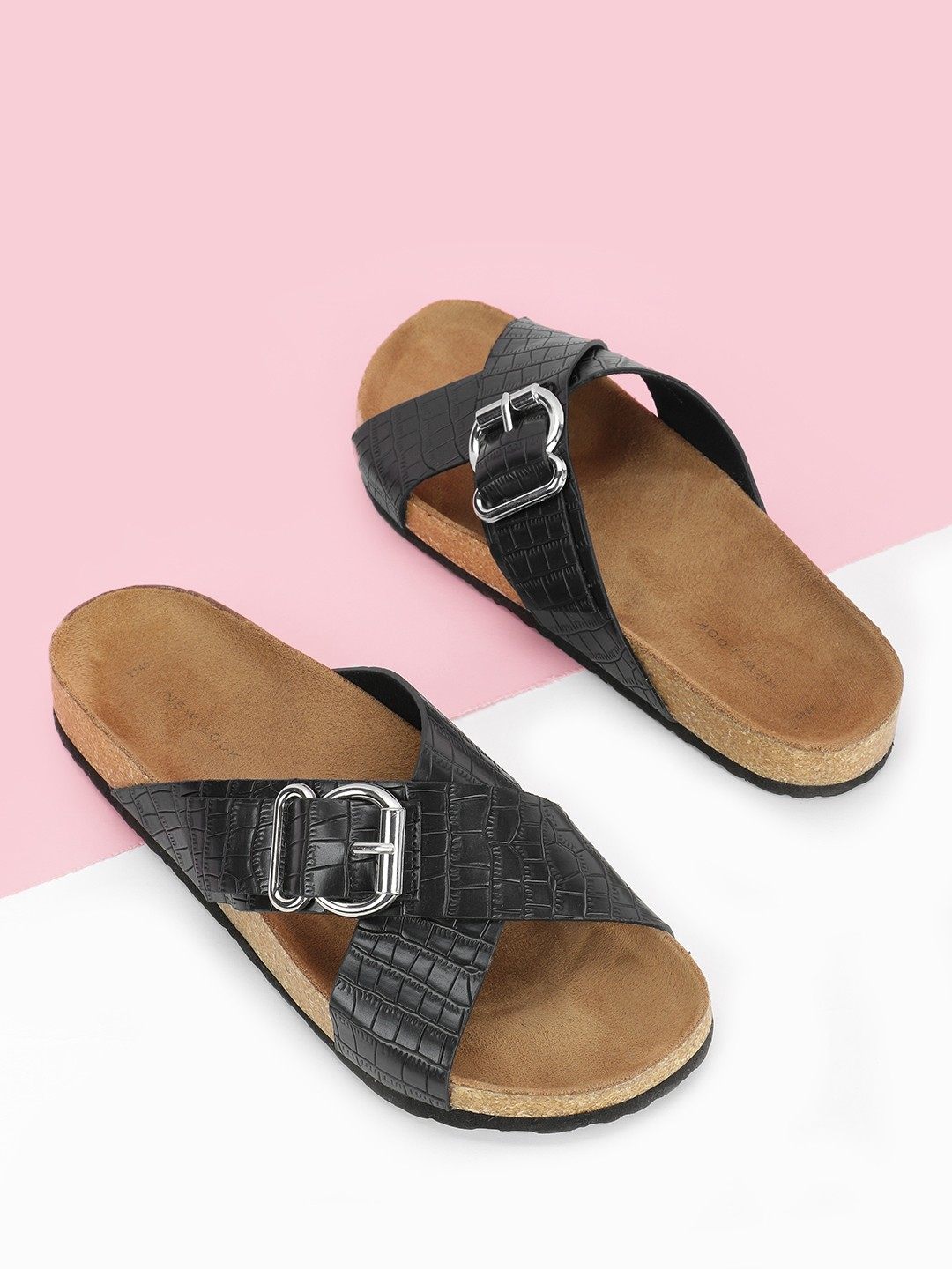 New Look Black Cross Buckle Textured Strap Flat Sandals 1