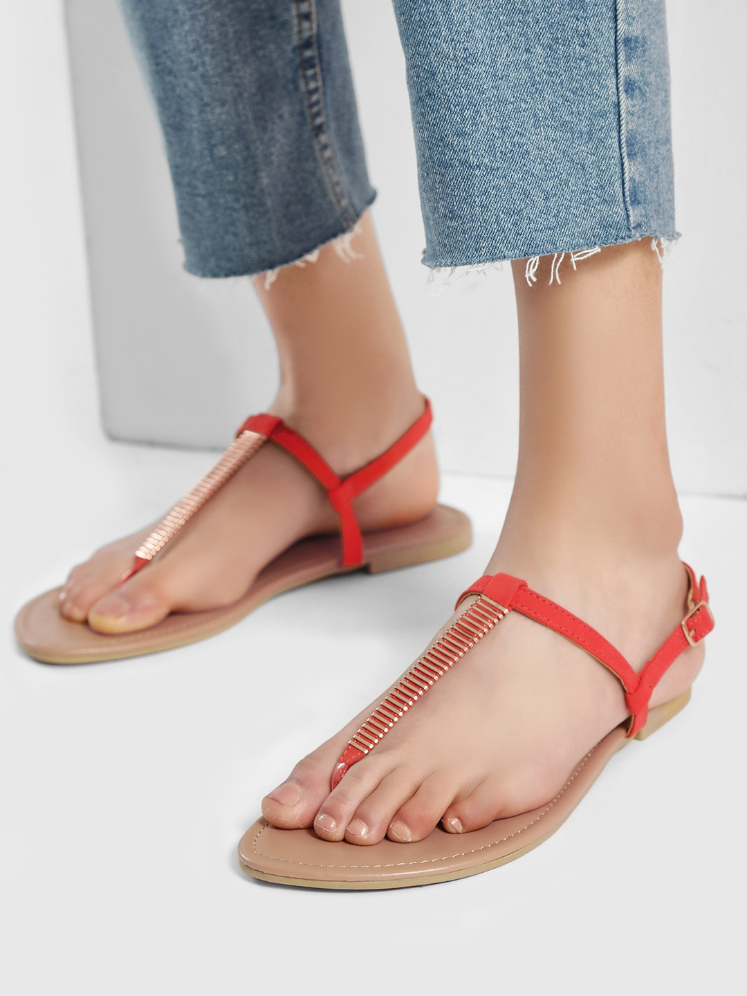 New Look Orange Bar Strap Toe Post Flat Sandals 1