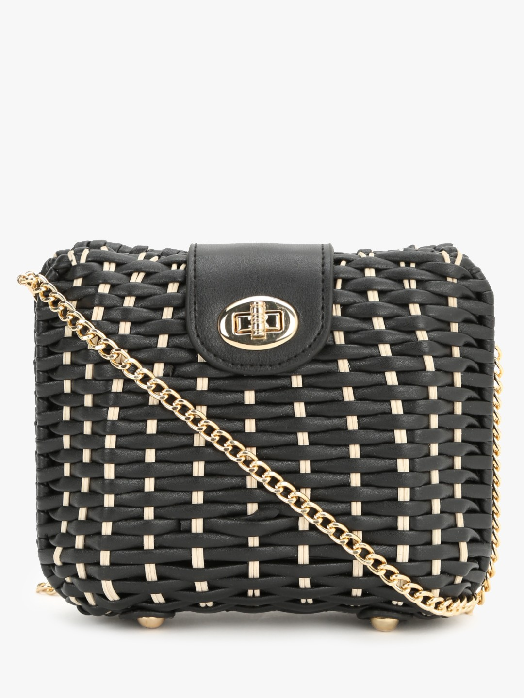 New Look Black Woven Straw Effect Crossbody Sling Bag 1