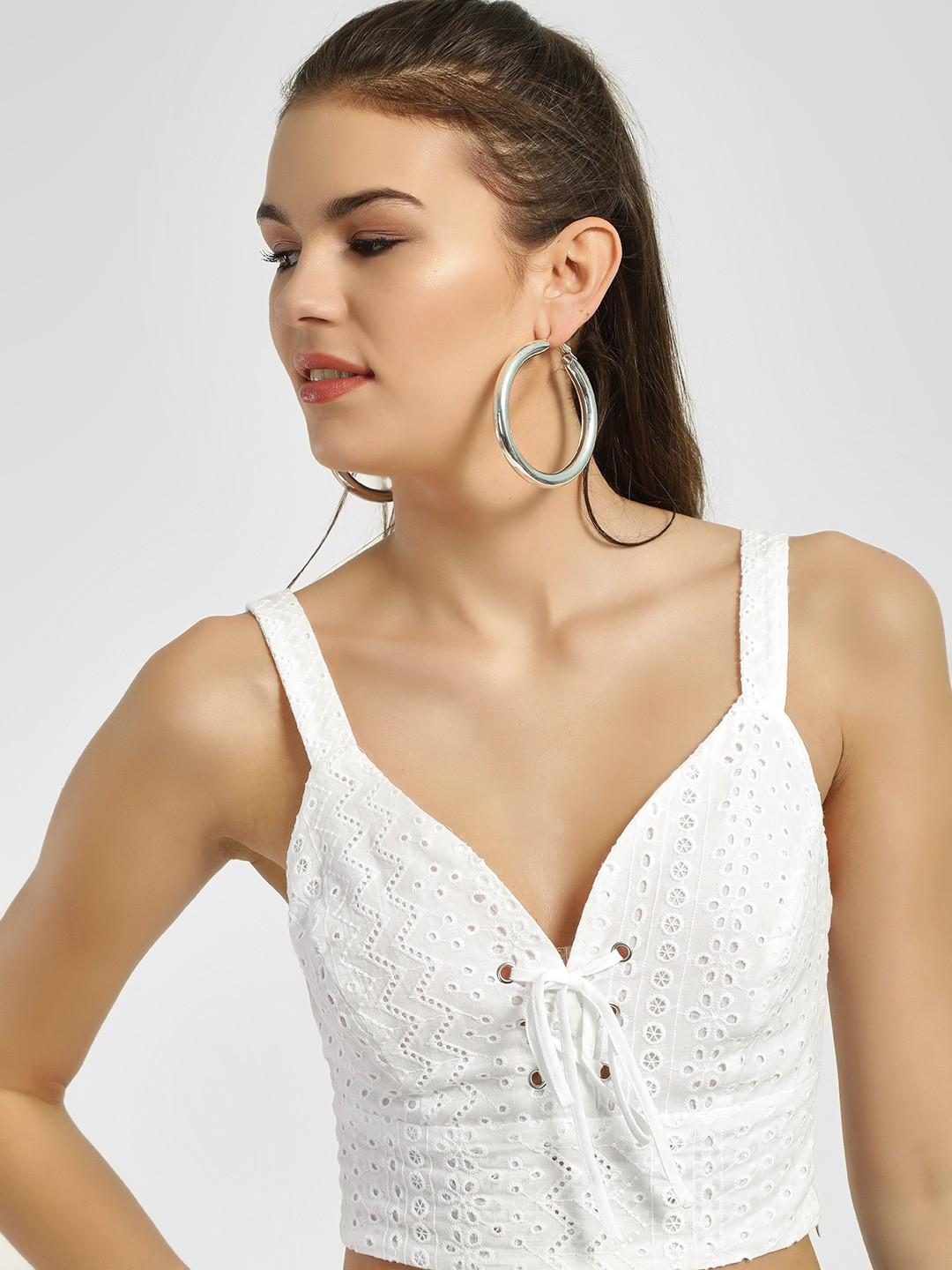 New Look White Corset Detail Broderie Crop Top 1
