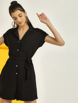New Look Revere Collar Button-Up Playsuit