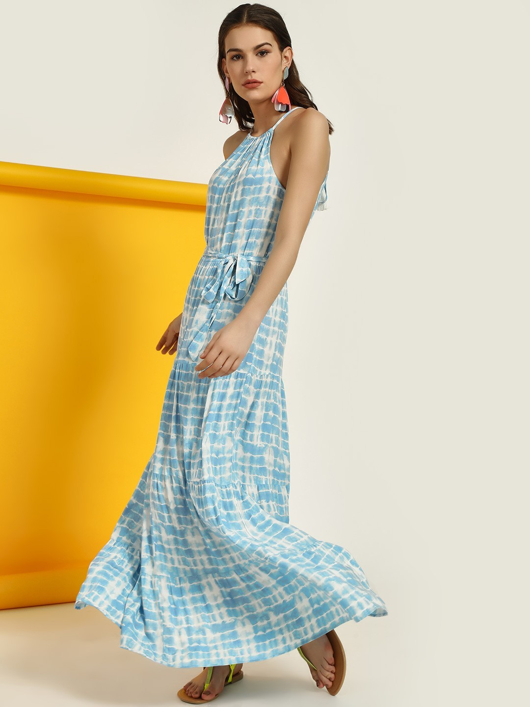 New Look BLUE PATTERN Tie Dye Halter Maxi Dress 1