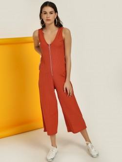New Look Ribbed Ring Zip-Up Jumpsuit