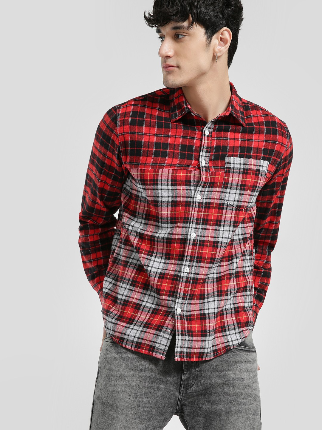 Blue Saint Red Woven Multi-Check Shirt 1