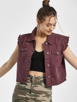 K Denim KOOVS Frayed Hem Crop Jacket