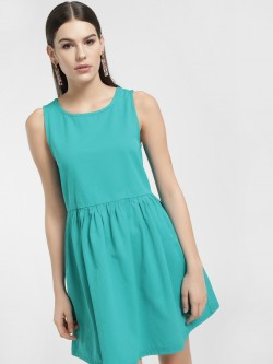 K Denim KOOVS Sleeveless Skater Denim Dress