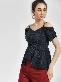 HEY Shimmer Cold Shoulder Peplum Top