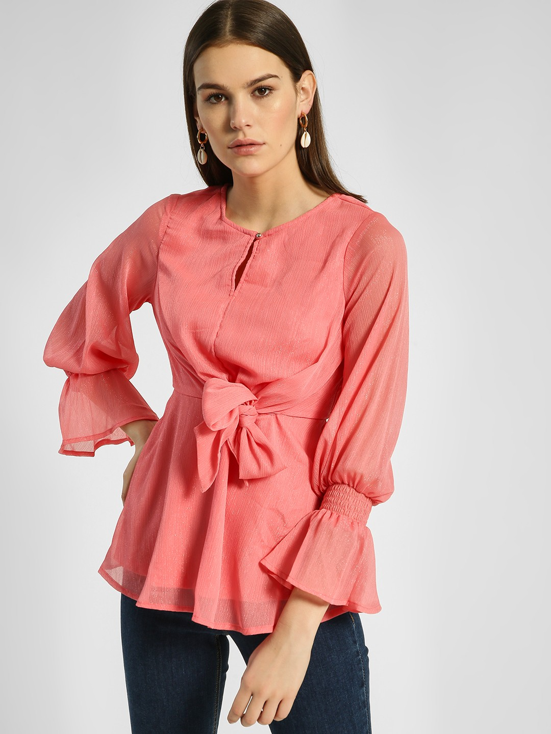 HEY Pink Shimmer Front Tie-Knot Blouse 1
