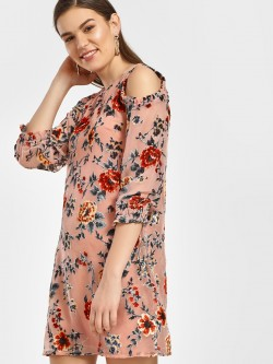 HEY Velour Floral Cold Shoulder Dress