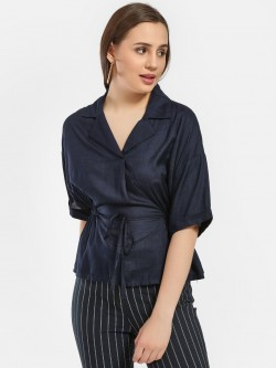 HEY Smocked Detail Front Tie-Knot Blouse