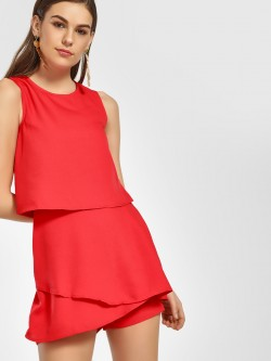 HEY Overlay Sleeveless Playsuit
