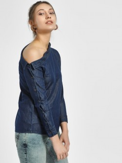 HEY One Shoulder Chambray Blouse