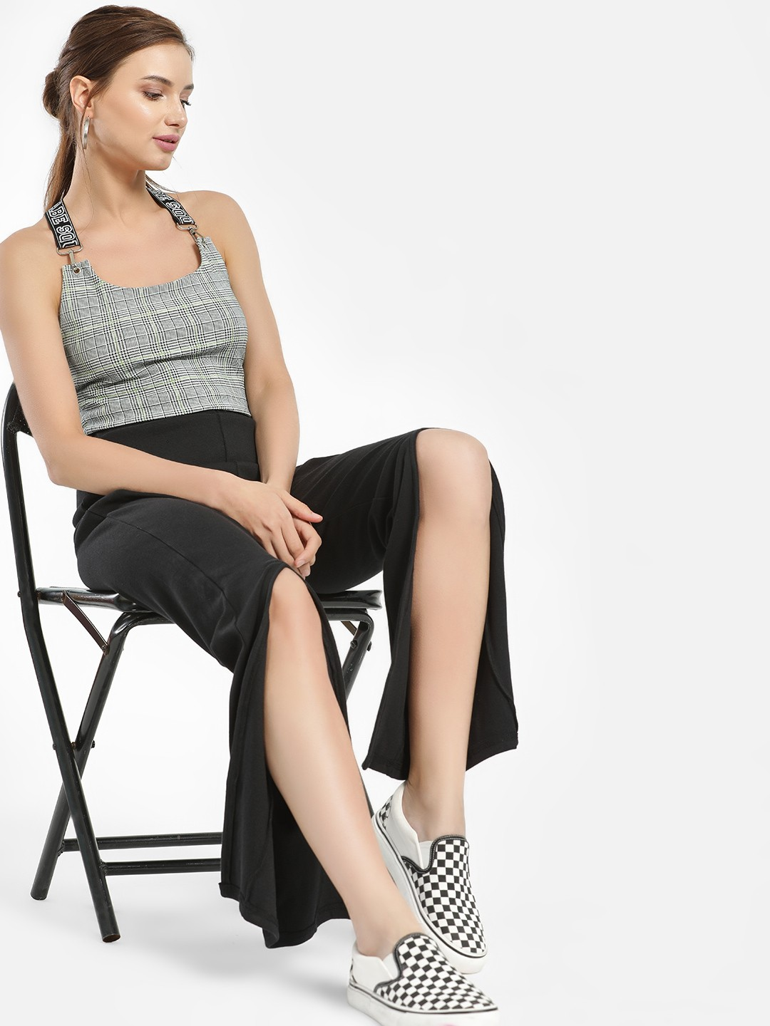 Daisy Street Black Front Slit Ribbed Trousers 1