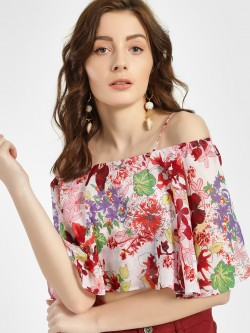 Ri-Dress Floral Print Strappy Crop Top