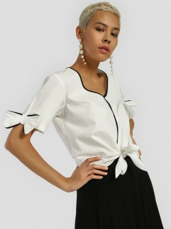 Ri-Dress Bow Tie Front Knot Crop Top
