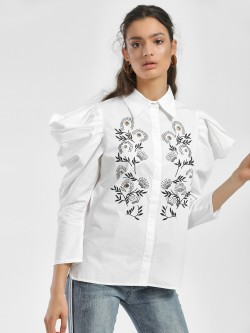 Ri-Dress Embroidered Mutton Sleeve Shirt