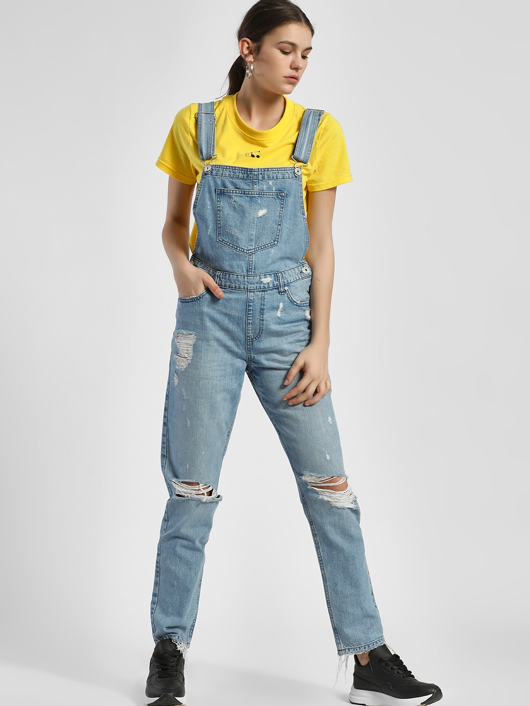LOVEGEN Blue Ripped Light Wash Denim Dungaree 1