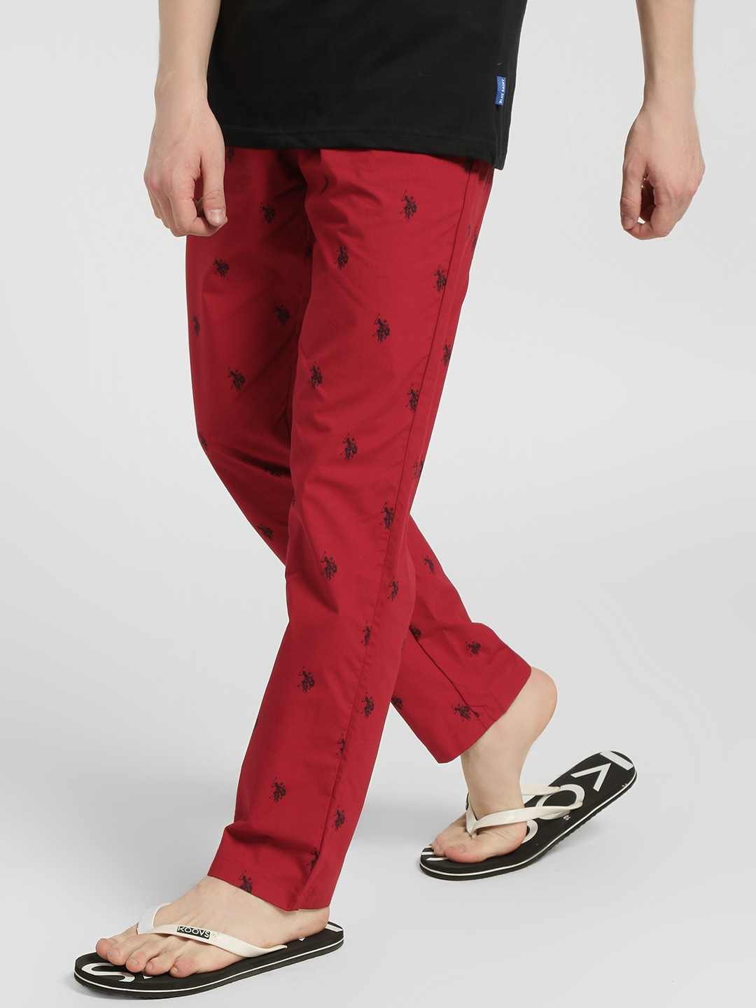 US. Polo. Assn. Red Logo All Over Print Lounge Pants 1