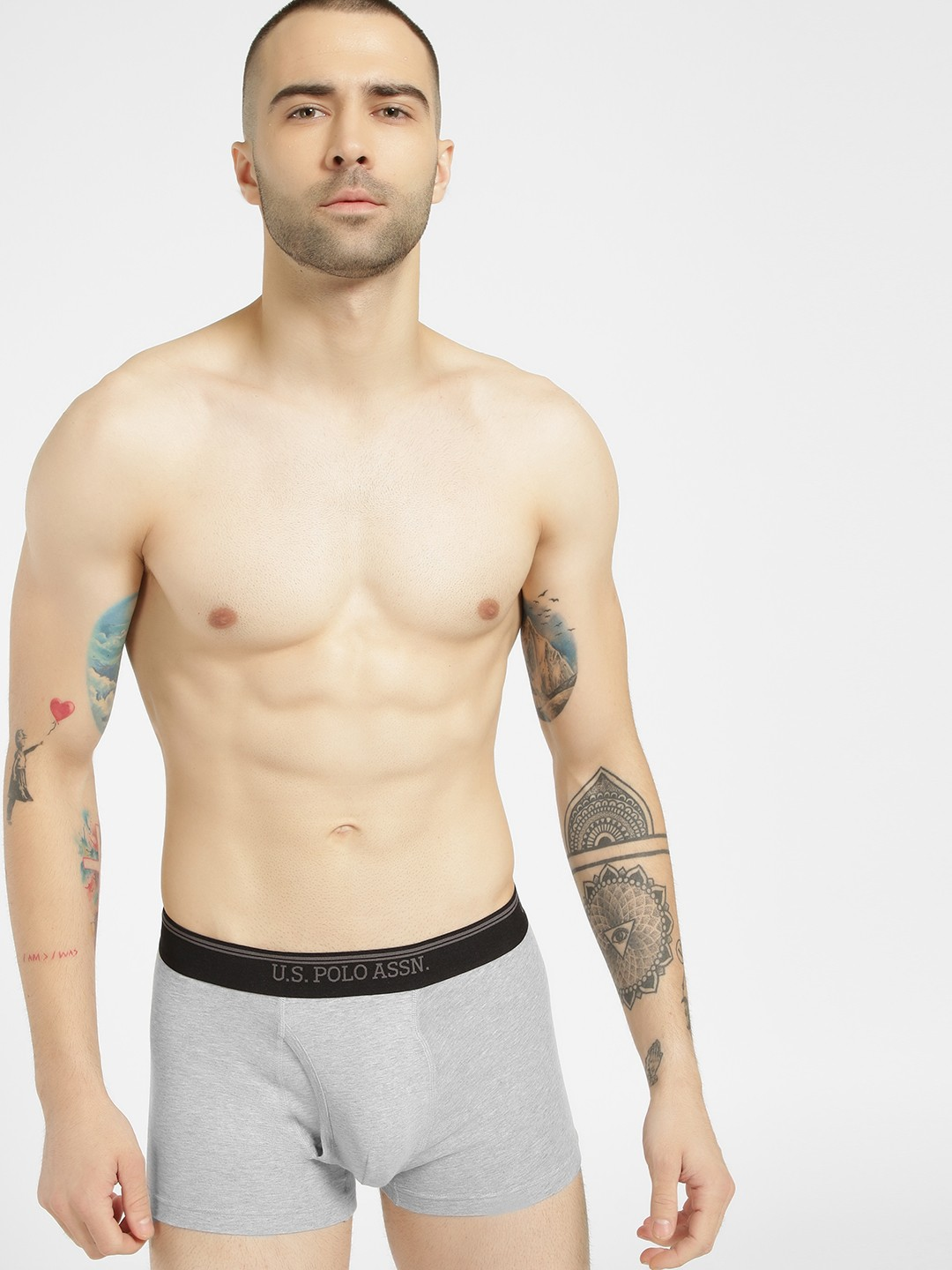 US. Polo. Assn. Grey Contrast Waistband Classic Trunk 1