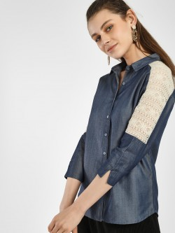 NUSH Lace Cut & Sew Denim Shirt
