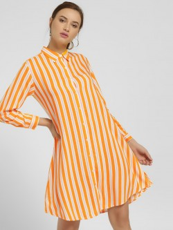 NUSH Multi-Stripe Shirt Dress