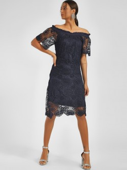 NUSH Crochet Lace Off-Shoulder Dress