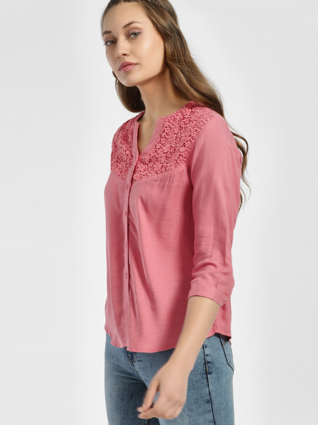 NUSH Pink V-Neck Lace Yoke Blouse 1