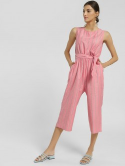 NUSH Stripe Sleeveless Cropped Jumpsuit