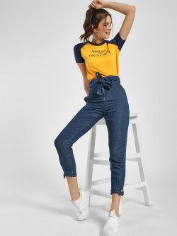 NUSH High-Waist Belted Peg Trousers