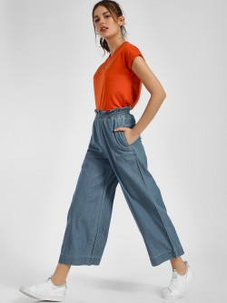 NUSH Paperbag Wide Leg Cropped Trousers