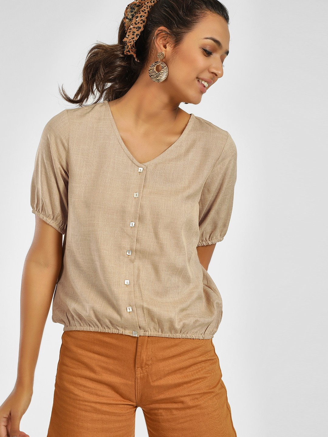 NUSH Brown Front Button Short Sleeve Blouse 1