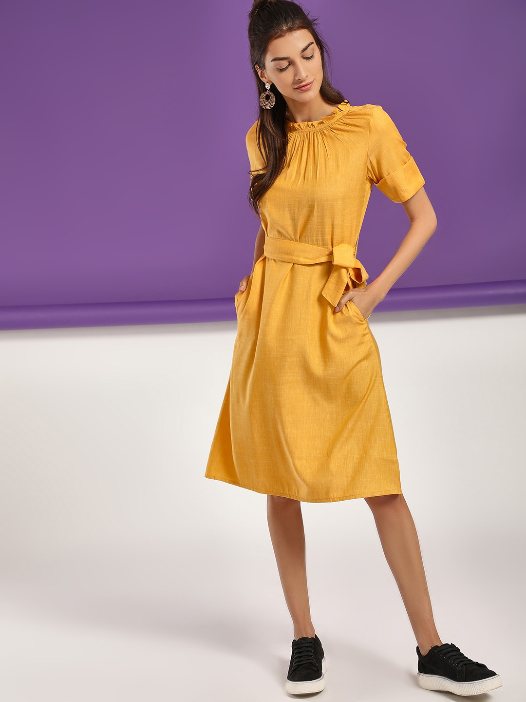 NUSH Yellow Ruffled Neck Belted Midi Dress 1