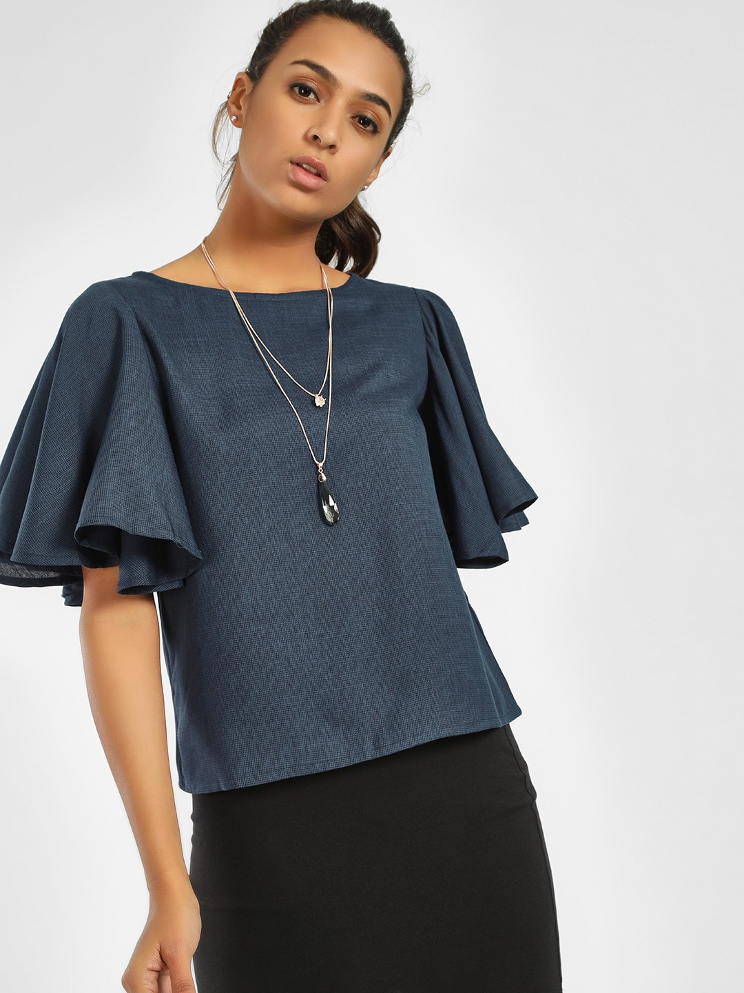 NUSH Blue Short Flared Sleeve Blouse 1