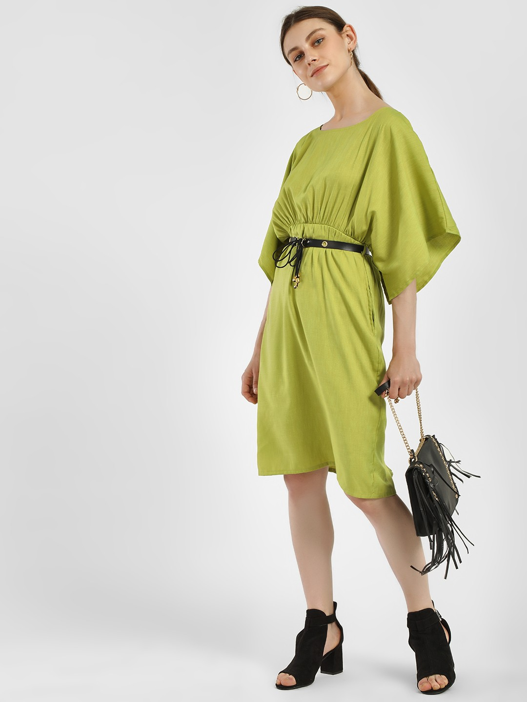 NUSH Green Kimono Sleeve Belted Midi Dress 1