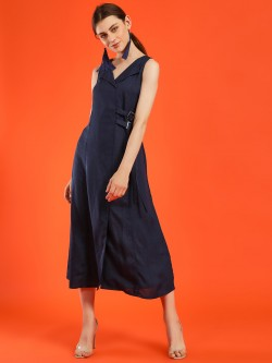 NUSH Flap Collar Belted Midi Dress
