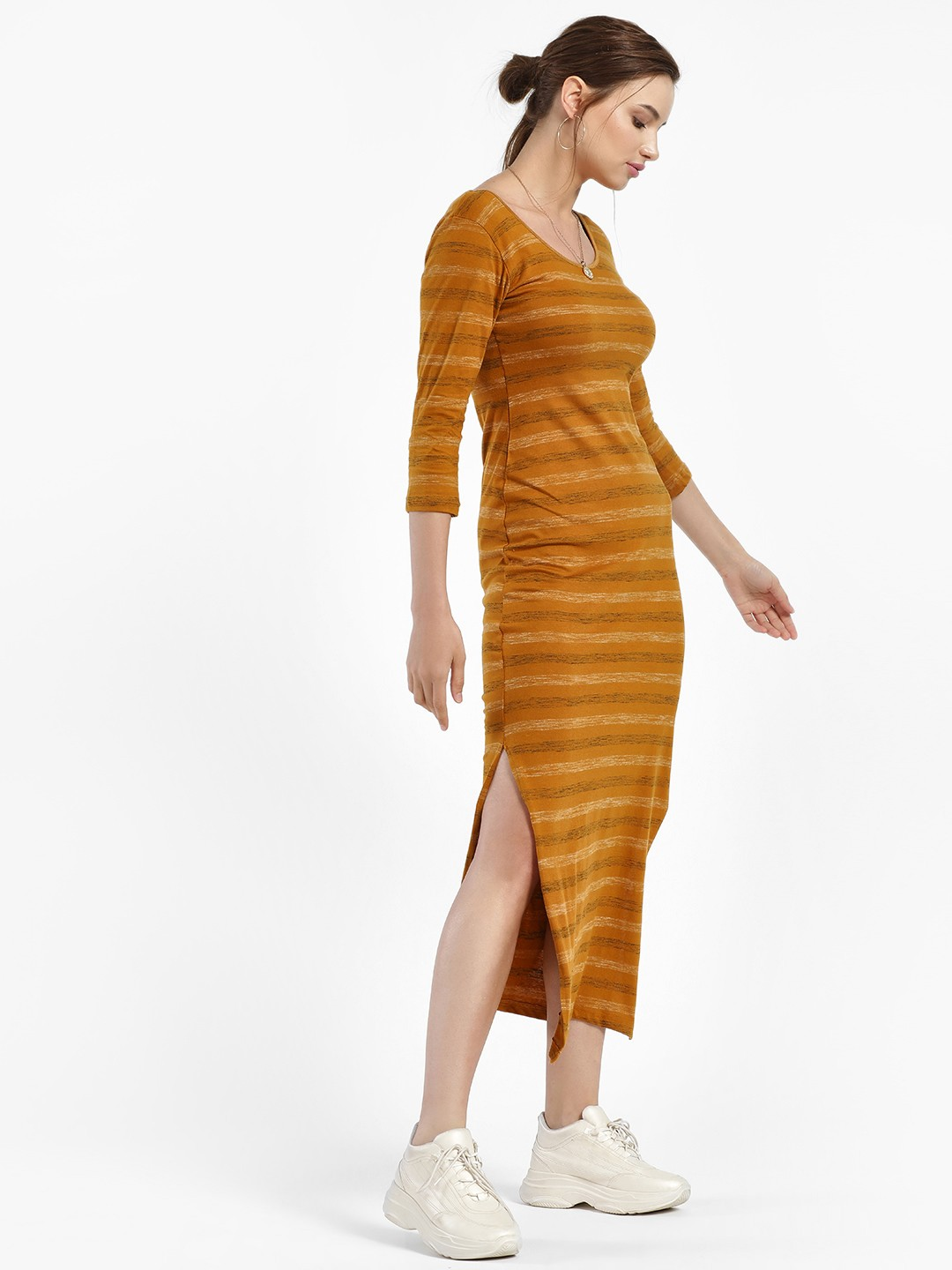 Daisy Street Mustard Blur Stripe Bodycon Dress 1