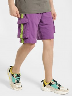KOOVS Contrast Text Tape Utility Shorts