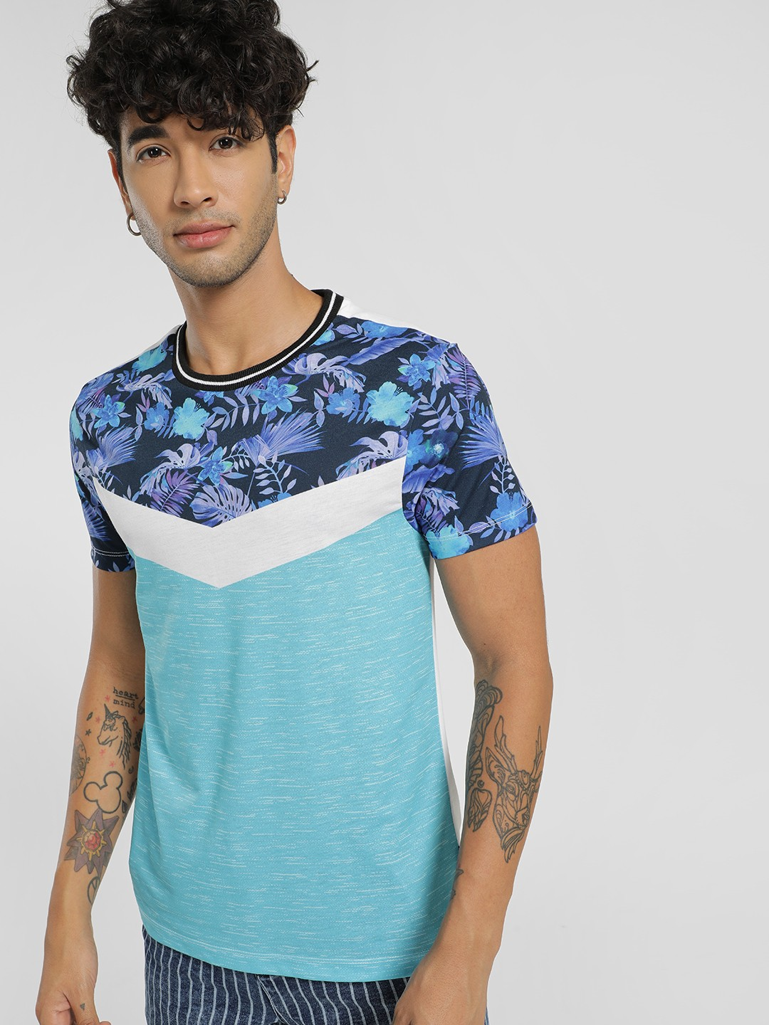 KOOVS Multi Chevron Tropical Print T-Shirt 1