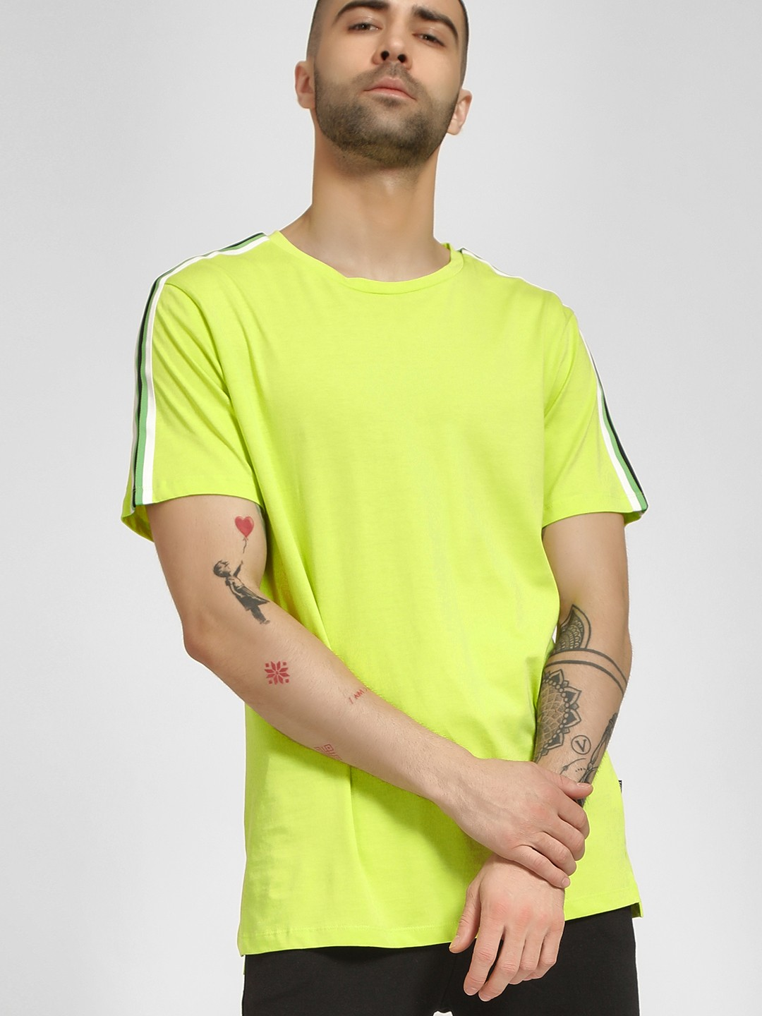 KOOVS Green Contrast Side Tape T-Shirt 1
