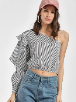 Street9 One Shoulder Striped Crop Top
