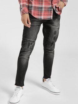 K Denim KOOVS Mid-Wash Distressed Panel Skinny Jeans