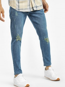 K Denim Light Wash Distressed Slim Jeans